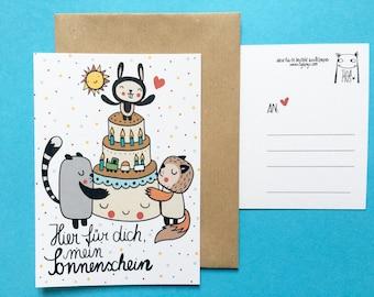 "3x Eco Postcard ""For My Sunshine"""