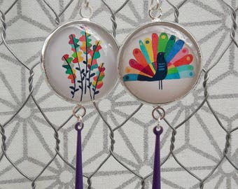 Dangling earrings, Peacock