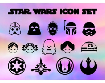 Star wars svg, Star wars icons, star wars silhouette, star wars cut files, star wars dxf, svg silhouette files, svg files cricut, dxf, png
