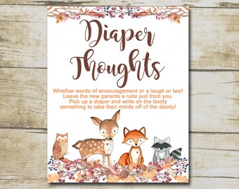 Woodland Baby Shower Diaper Thoughts Game , Late Night Diaper Game , Forest Animal Baby Shower, Baby Shower Game / INSTANT DOWNLOAD P01