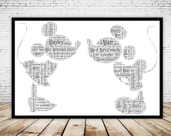 Personalised Mickey & Minnie Mouse Disney Wedding Engagement Anniversary Word Art Gift