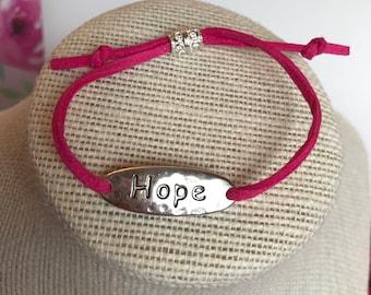 Hope Bracelet, Pink Hope Bracelet, Pink Bracelet, Adjustable Bracelet, Pink Suede Bracelet