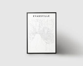 Evansville Map Print
