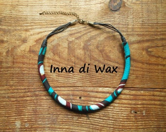 Maasai style necklace made of wax (African fabric)