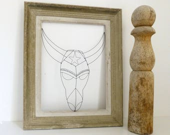 Masque fil de fer N°4, décoration murale fil de fer, décoration éthnique