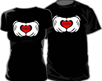 Set of 2 T-shirts for those who love to customize: heart and hands