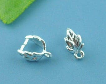 lot 5 bails clips open / leaf / 9 x 7 mm