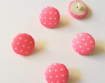 BUTTONS covered round pink polka dot white 16.5 mm COUTURE cake baby (H6N)