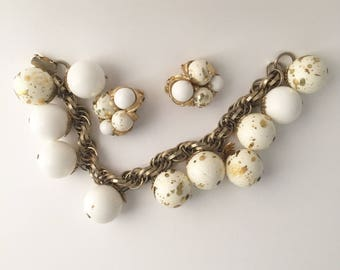 White & Gold Speckled Vintage Jewelry Set