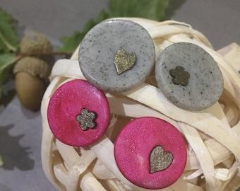Polymer clay pink / grey stud earrings