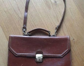 Vintage brown leather satchel messenger bag briefcase  shoulder bag Schultermappe Umhängetasche
