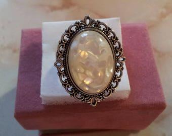 Carved cream Adjustable ring (14)
