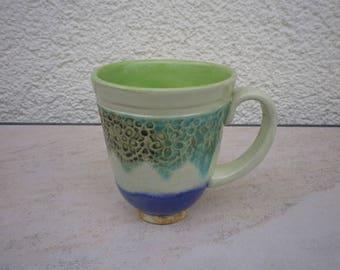 "Coffee Tea mug of the series ""Watercolour"", ceramics"