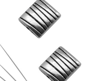 Set of 2 rectangular beads, silver, 10 x 9 mm, 4 mm, hole 1 mm thick