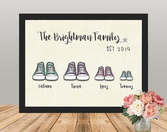 Personalised Family Print, Converse Trainers, Sneakers, Perfect Gift Or Present, New Baby