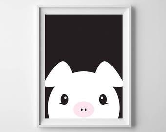 Piggy Nursery Printable Art, 8x10, 4:5 Ratio, Modern Wall Art, Instant Download, Digital Print Printable Art
