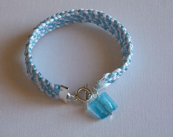 KUMIHIMO BRAID BRACELET BLUE AND WHITE