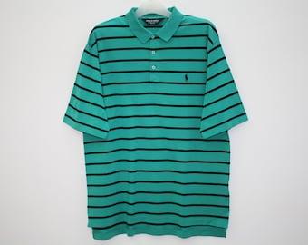 Vintage Polo Golf Ralph Lauren Striped Green Cotton Polo Shirt Size L