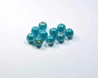 Set of 10 magical turquoise 10mm glass beads