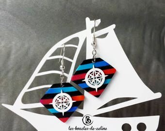 Earrings: compasses and stripes