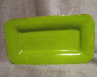 Green ceramic serving dish.