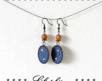 Long blue vintage earrings