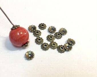 50 bead caps caps 6mm bronze for creations of jewels
