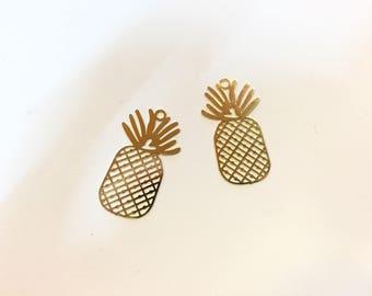 10 prints fine pineapple 26x15mm Golden jewellery designs