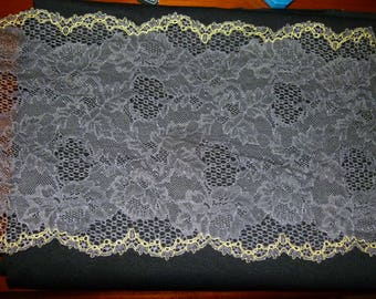 Gorgeous gray and yellow French Calais lace 21cm wide sold by the cut of 20 cm long cut to desired length