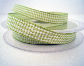 1 m wide 10mm lime green Plaid gingham Ribbon