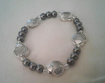 Silver Scallops and Gray Beaded Stretch Bracelet