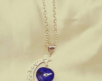 Moon stone Heart Necklace
