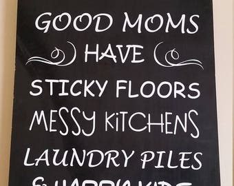 Mom Sign / Gifts For Mom / Mother's Day Gift / Funny Signs / Humor / Novelty Signs / Good Moms / Home Decor / Laundry piles / Happy Kids
