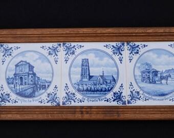 Delfshaven Blue tile tableau-Wooden frame dutch Delfshaven Blue tiles-years 70 '