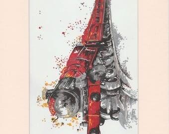 Red train Felt tip drawing