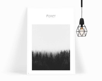 Nordic Foret, Forest Print, Tropical Wall Art, Botanical Print, Misty Forest, Typography, Scandi Poster for Gallery Walls–INSTANT DOWNLOAD