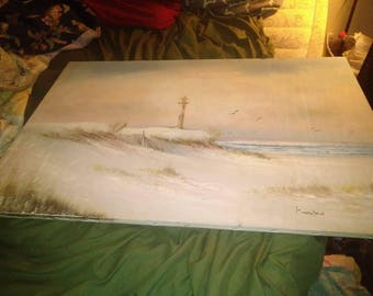 K wilson original oil painting #6 seascape lighthouse signed