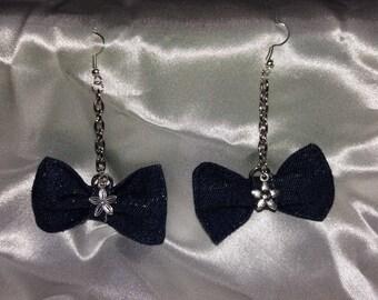 Denim bow earring