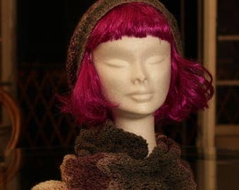 slouchy or Beanie falling Angora pink grey and white
