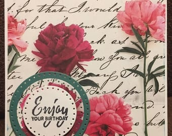 Vintage Floral Handmade Birthday Card