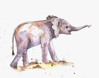 Baby Elephant ORIGINAL watercolor painting, 24x30 cm