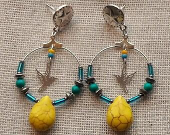 Hoop earrings Mexican bird