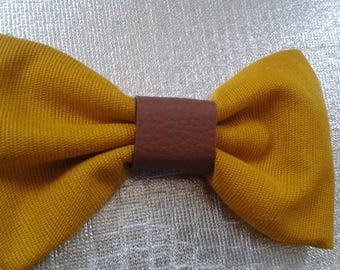 Bowtie fabric mustard yellow chocolate brown faux leather heart