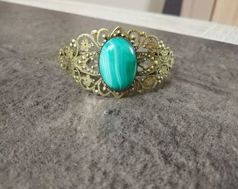 Filigree Cuff Bracelet with green Aventurine gemstone