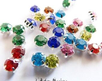 Rhinestone beads synthetic multicolor x 50