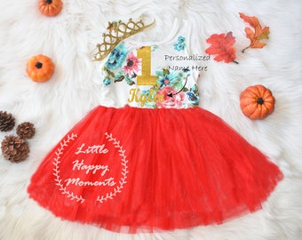 Personalized Floral Dress First Birthday Outfit ,Fall First Birthday,Birthday Crown, October birthday