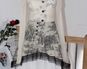 English shabby burlap and embroidery petticoat skirt
