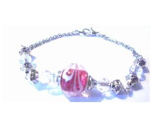Vintage bracelet, glass bead pink background