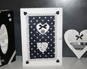 wooden key box black and white polka dot heart lace