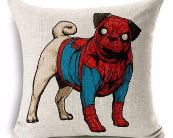 Dog Pillow Cover - Spider Pug